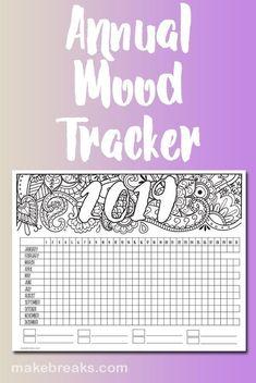 2019 Annual Mood Tracker Free Printable Planner Page Free printable mood tracker for 2019 Printable Planner Pages, Free Planner, Happy Planner, Planner Stickers, Free Printables, Planner Diy, Planner Ideas, Tracker Free, Mood Tracker