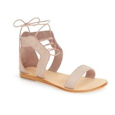 Urge Footwear 'Sophia' Lace-Up Flat Sandal (130 CAD) ❤ liked on Polyvore featuring shoes, sandals, blush leather, leather strap sandals, flat sandals, strap sandals, strappy lace up sandals and strappy sandals