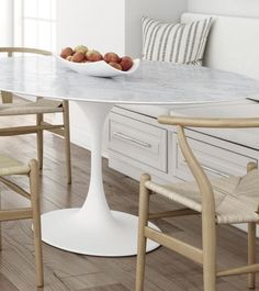 Oval Marble Dining Table to seat six– Onske Tulip Dining Table, Table And Chair Sets, Kitchen Reno, White Marble, Furniture, Bathrooms, Kitchens, Dining Room, Fit