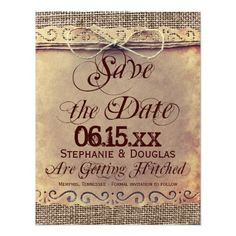 Rustic Country Vintage Save the Date Cards