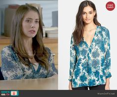 Annie's blue floral blouse on Community.  Outfit Details: http://wornontv.net/47941/ #Community