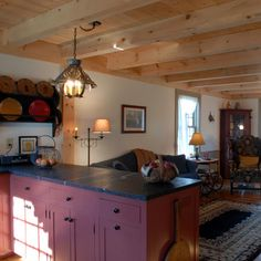 Post and Beam Living Room and Timber Framed Ceiling