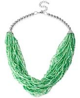Haskell Rhodium-Tone Green Seed Bead Multi-Row Necklace