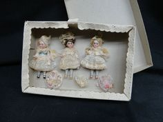 "GREAT GERMAN rare BOXED SET 3 MIGNONETTES (4"" SIZE) FOR FRENCH MARKET perfect"
