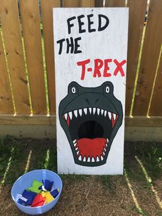 Feed the T-Rex. Throw the bean bag in the dino mouth for a fun dinosaur birthday… Feed the T-Rex. Throw the bean bag in the dino mouth for a fun dinosaur birthday… – Dinosaur First Birthday, Fourth Birthday, 4th Birthday Parties, Children Birthday Party Ideas, 5th Birthday Ideas For Boys, 4 Year Old Boy Birthday, First Birthday Games, Baby Boy 1st Birthday Party, Turtle Birthday