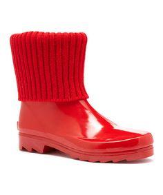 Look at this #zulilyfind! Red Short Mock Sock Couture Rain Boot #zulilyfinds