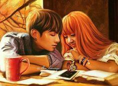 #jungkook #bts #lisa #blackpink #fanart #love