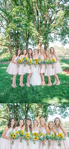 Blush Pink dresses and sunflowers Imago Dei Photography, Portland Oregon Photograper, Postlewaits Country Wedding Venue