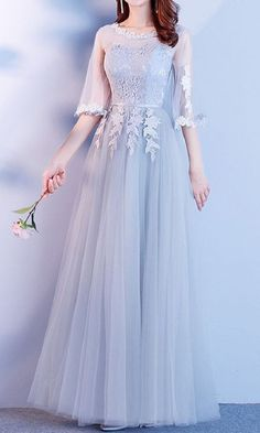 New bridesmaid lace dress wedding bridal evening prom party gown ball dance tulle. Prom Dresses With Sleeves, Gala Dresses, Lace Bridesmaid Dresses, 15 Dresses, Elegant Dresses, Pretty Dresses, Bridal Dresses, Beautiful Dresses, Fashion Dresses