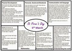 Worms Eye-View: ST PIRAN'S DAY MEDIUM TERM PLAN School Plan, Pre School, Eyfs Activities, Toddler Activities, Worms Eye View, Curriculum Planning, Physical Development, Learning Objectives, Lesson Plan Templates