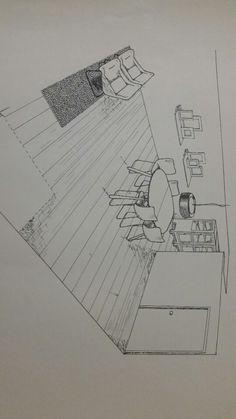 Schoolopdracht interieuradviseur perspectief tekenen, halve ruimte