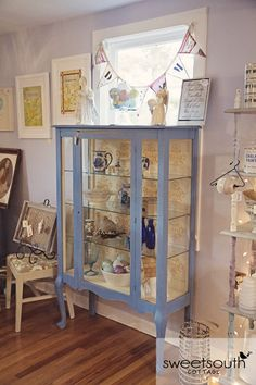 Gorgeous China Cabinet Painted In Chalk Paint Colors Greek Blue Arles And Old White
