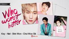 Who Wore It Better: Key vs. Niel vs. Shin Won vs. Choi Woo Sik | http://www.allkpop.com/article/2016/07/who-wore-it-better-key-vs-niel-vs-shin-won-vs-choi-woo-sik