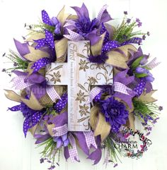 Mesh Spring Burlap Wreath - Lavender - Lent Cross Wreath Purple Ribbon by www.southerncharmwreaths.com #burlap #Easter #cross