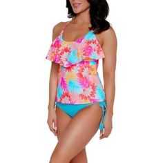Catalina Women's Tropical Ruffled Halter Tankini Top With Strappy Details, Size: Medium, Multicolor