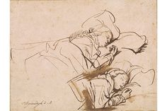 Rembrandt Harmensz. van Rijn (16061669), Two Studies of Saskia Asleep, ca. 1635-37, Pen and brown ink and wash on paper.