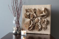 Burlap Brown 3D Wall Art Canvas 12x12 Wall Hanging by tentiljoy, $32.50