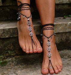 Black and Silver peace barefoot sandals foot by PanoParaTanto