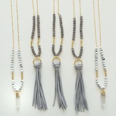 Leather tassel necklace - beaded long necklace - druzy necklace - Quartz Point necklace by AllGirlsneed on Etsy https://www.etsy.com/listing/234547418/leather-tassel-necklace-beaded-long