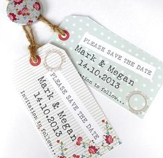 Save the date: shabby chic tags photo on back, filigree magnet