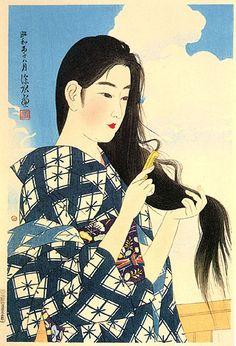 Washing Hair  by Ito Shinsui, 1936  (published by Watanabe Shozaburo)