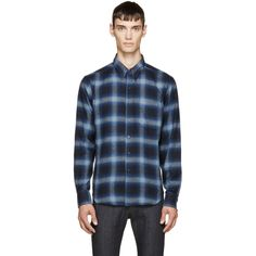 Naked & Famous Denim Navy & Blue Flannel Plaid Shirt