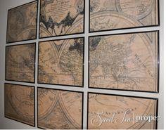 Restoration Hardware Inspired Large Vintage World Map Tutorial | DIY Project