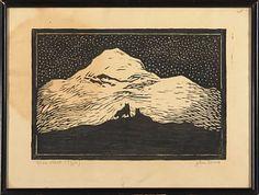 "John Savio, ""Natt II (Igja) "" / Grafikk / Nettauksjon / Blomqvist - Blomqvist Kunsthandel Linoprint, Pen And Paper, Woodblock Print, Vintage World Maps, Illustrations, Contemporary, Artwork, Prints, Art Work"
