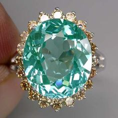 paraiba tourmaline  w/champagne diamonds--pretty color combo!