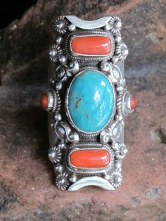 Nice Turquoise and Coral ring