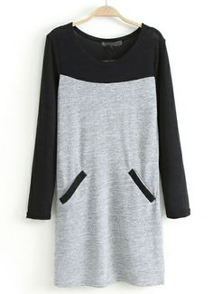 Grey Contrast Long Sleeve Knit Dress US$22.33