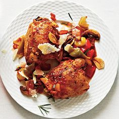 Chicken Cacciatore | Cooking Light MyRecipes.com 15 gms fat. Hmmm.  Try baking ck thighs covered instead of browning in oil.