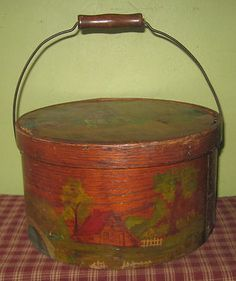 Antique Early AAFA Wood Wooden Covered Pantry Box   eBay