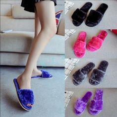 Womens Warm Furry Slippers Open Toe Home Casual Shoes Flat Indoor Fashion