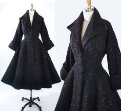 Vintage 50s LILLI ANN Princess COAT 1950s Black by GeronimoVintage
