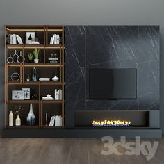 models: Other - TV shelf 46 Wall Unit Designs, Living Room Tv Unit Designs, Tv Wall Design, Tv Unit Furniture, Home Decor Furniture, Living Room With Fireplace, Home Living Room, Home Room Design, House Design