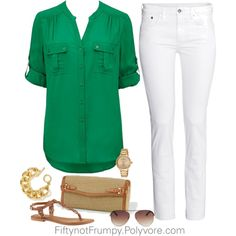 """""""White Jeans"""" by fiftynotfrumpy on Polyvore"""