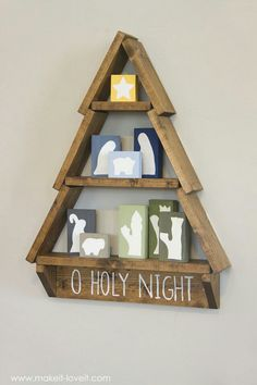 DIY Holiday Tree Shelf…with Nativity Blocks! - Kathrin S - DIY Holiday Tree Shelf…with Nativity Blocks!with Nativity Blocks! Nativity Crafts, Christmas Nativity, Noel Christmas, Christmas Projects, Winter Christmas, Christmas Ornaments, Felt Ornaments, Xmas, Nativity Creche