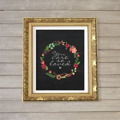 You are So Loved - Chalkboard 8x10- Instant Download Digital Printable Flowers Floral Wreath Baby Girls Kids Nursery Room Decor Wall Art on Etsy, $5.08
