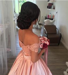 Item:Pink Ball Gowns Occasion:Prom,Evening,Formal,Quinceanera,Wedding Process Ti… – My CMS Sweet 16 Hairstyles, Quince Hairstyles, Best Wedding Hairstyles, Bride Hairstyles, Updo Hairstyle, Quince Dresses, Ball Dresses, Ball Gowns, Prom Dresses
