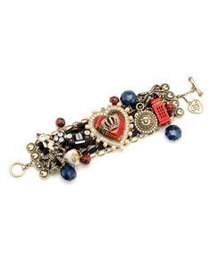 Betsey Johnson Heart Multi Charm Wide Bracelet $135