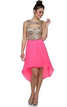 Dress with Sequin Tank Bodice with Keyhole Cutout and High Low Hem
