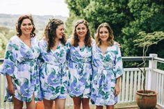 Photography: @Raconteurphotography ~ Possibly the BEST bridesmaid gift idea - Piyama Short Kimono Robe in Watercolour Flora Blue $55 ~ Shop the Piyama Bridal Boutique: www.etsy.com/au/shop/Piyama