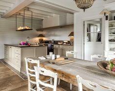 Marie Masureel Belgian kitchen. grayed oak farm table.