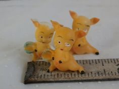 Tiny Easter Pig Figurines Lot of 3 for Crafting and Decorating - little pigs holding tiny baskets - just over 1 inch tall