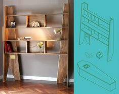 With this bookcase, one is ready for their green, no-embalming funeral without the family having to find a coffin in under 24 hours.  Just unload the shelves, reconfigure and plant mama!  Love it....Coffin Shelves, [Re] Design Exhibit, ww.modconshelves for life, London Design Week