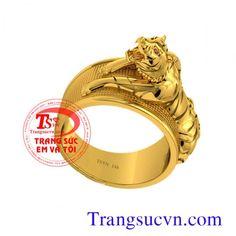 Nhẫn nam tuổi Dần, với chiếc nhẫn con Hổ sang trọng, tinh tế,Hổ là biểu tượng của sức mạnh, sự chiến thắng và quyền lực, Doanh nhân tuổi Dần, Nhẫn nam vàng 14k đẹp