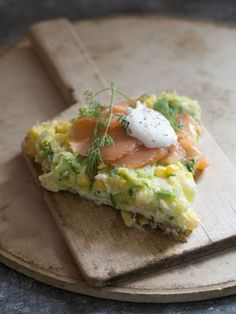 Open-Faced Corn and Zucchini Omelet with Smoked Salmon and Lemon Cream
