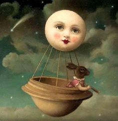 """A Balloon Made from the Moon"" - Oil painting by Stephen Mackey.bunny in the moon balloon Sun Moon Stars, Sun And Stars, Paper Moon, Good Night Moon, Beautiful Moon, Luna Lovegood, Moon Art, Moon Child, Whimsical Art"