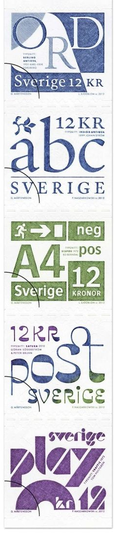 post-typography from sweden. stamps.